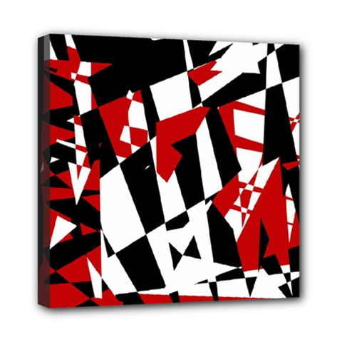 Red, black and white chaos Mini Canvas 8  x 8