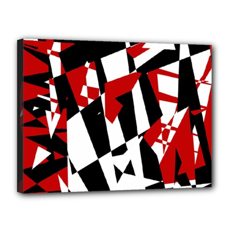Red, black and white chaos Canvas 16  x 12