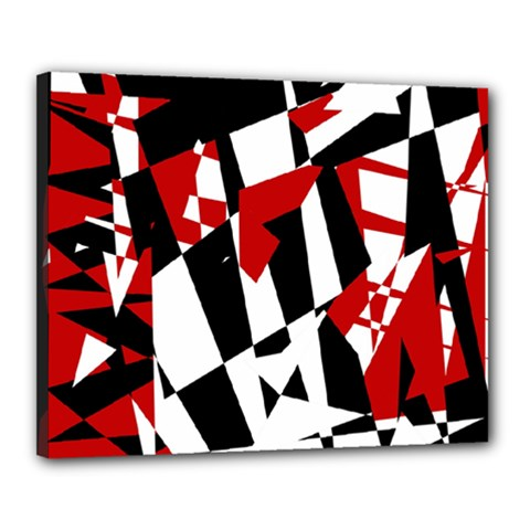 Red, black and white chaos Canvas 20  x 16