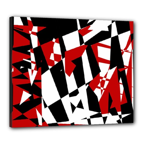 Red, black and white chaos Canvas 24  x 20