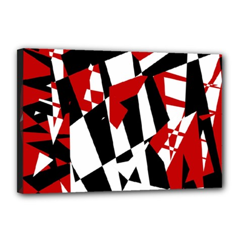 Red, black and white chaos Canvas 18  x 12