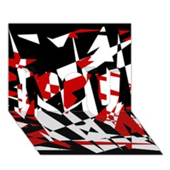 Red, black and white chaos I Love You 3D Greeting Card (7x5)