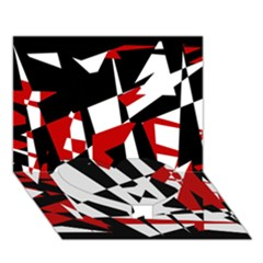 Red, black and white chaos Heart Bottom 3D Greeting Card (7x5)