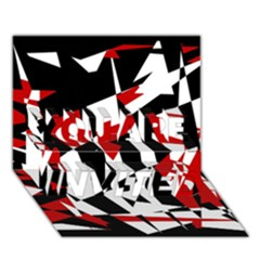 Red, black and white chaos YOU ARE INVITED 3D Greeting Card (7x5)