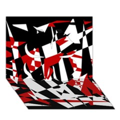 Red, black and white chaos Clover 3D Greeting Card (7x5)