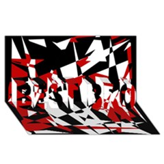 Red, black and white chaos BEST BRO 3D Greeting Card (8x4)