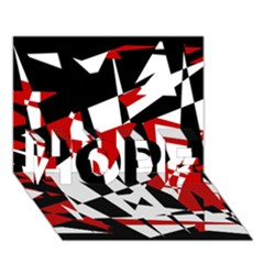 Red, black and white chaos HOPE 3D Greeting Card (7x5)