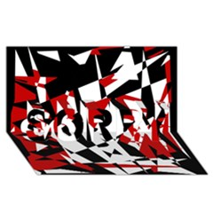 Red, black and white chaos SORRY 3D Greeting Card (8x4)