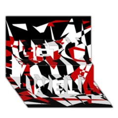 Red, black and white chaos Get Well 3D Greeting Card (7x5)