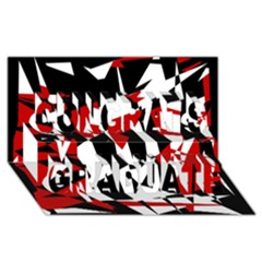 Red, black and white chaos Congrats Graduate 3D Greeting Card (8x4)