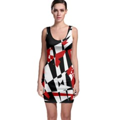 Red, black and white chaos Sleeveless Bodycon Dress