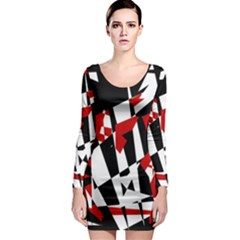Red, black and white chaos Long Sleeve Bodycon Dress