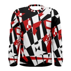 Red, black and white chaos Men s Long Sleeve Tee