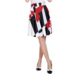 Red, black and white chaos A-Line Skirt