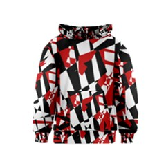 Red, black and white chaos Kids  Pullover Hoodie