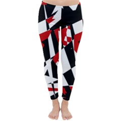 Red, black and white chaos Winter Leggings