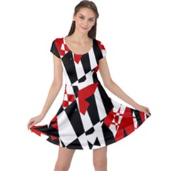 Red, black and white chaos Cap Sleeve Dresses