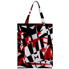 Red, black and white chaos Zipper Classic Tote Bag