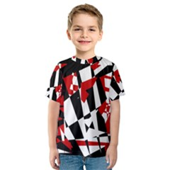 Red, black and white chaos Kid s Sport Mesh Tee