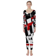 Red, black and white chaos Long Sleeve Catsuit