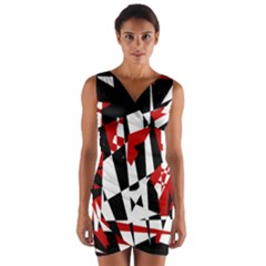 Red, black and white chaos Wrap Front Bodycon Dress