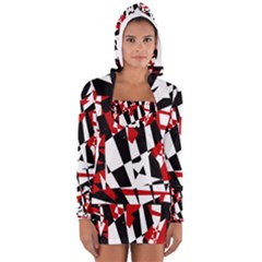 Red, black and white chaos Women s Long Sleeve Hooded T-shirt