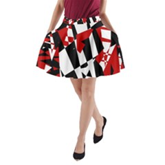 Red, black and white chaos A-Line Pocket Skirt
