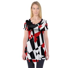 Red, black and white chaos Short Sleeve Tunic