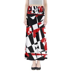 Red, Black And White Chaos Maxi Skirts