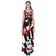 Red, black and white chaos Empire Waist Maxi Dress