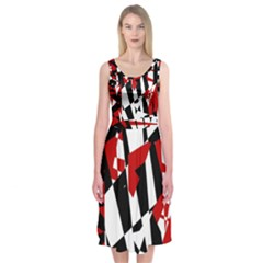 Red, black and white chaos Midi Sleeveless Dress