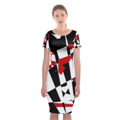 Red, black and white chaos Classic Short Sleeve Midi Dress