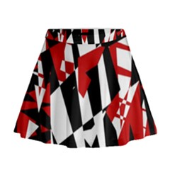 Red, black and white chaos Mini Flare Skirt
