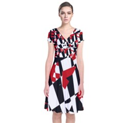 Red, black and white chaos Short Sleeve Front Wrap Dress