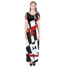 Red, black and white chaos Short Sleeve Maxi Dress