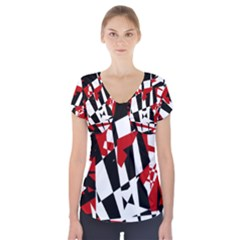 Red, Black And White Chaos Short Sleeve Front Detail Top