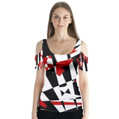 Red, black and white chaos Butterfly Sleeve Cutout Tee