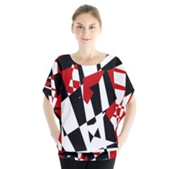 Red, black and white chaos Blouse