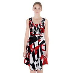 Red, black and white chaos Racerback Midi Dress