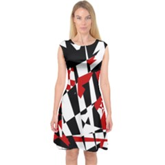 Red, black and white chaos Capsleeve Midi Dress