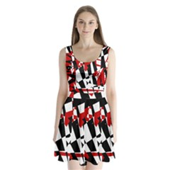 Red, black and white chaos Split Back Mini Dress