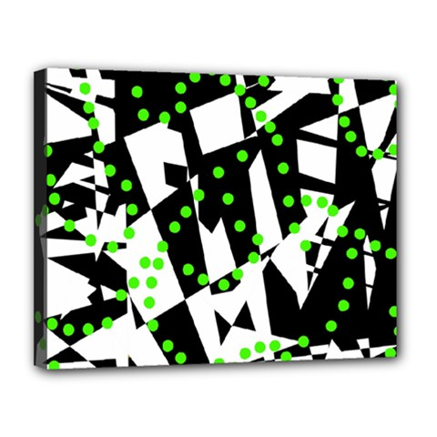 Black, white and green chaos Canvas 14  x 11