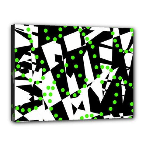 Black, white and green chaos Canvas 16  x 12