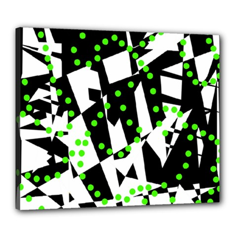 Black, white and green chaos Canvas 24  x 20
