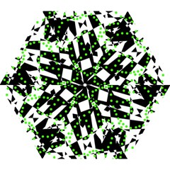 Black, white and green chaos Mini Folding Umbrellas