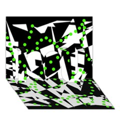 Black, white and green chaos I Love You 3D Greeting Card (7x5)