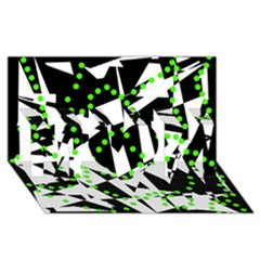Black, white and green chaos MOM 3D Greeting Card (8x4)