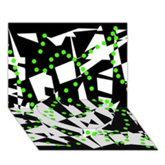 Black, white and green chaos Heart Bottom 3D Greeting Card (7x5)