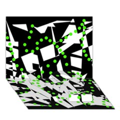 Black, white and green chaos LOVE Bottom 3D Greeting Card (7x5)