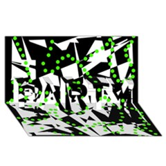 Black, white and green chaos PARTY 3D Greeting Card (8x4)
